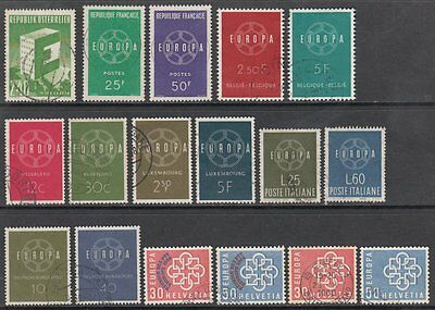 1959 Europa CEPT Complete Year Set, Fine Used with CDS Cancels. Getting Tricky
