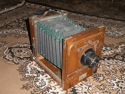 FKD FK 13x18 Vintage Russian Folding large Wooden camera & Industar 51 Lens 6476