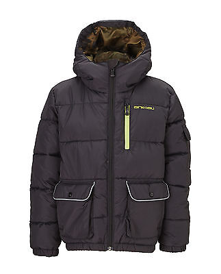 Animal Boys Padded Murren Jacket With Hood in Black Size 13-14 Years