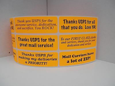 Thank You USPS Support Messages 1x3 sticker label orange fluorescent  252/rl