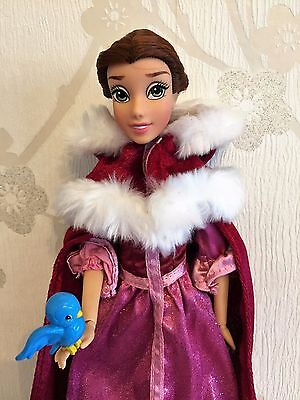 "Disney Store BNWOB 12"" Christmas Winter Belle Doll Deluxe Beauty and the Beast"