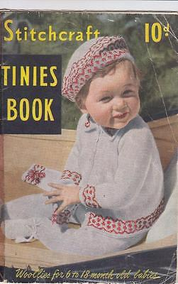 Vintage 1940s STITCHCRAFT BABY CLOTHES Knitting Patterns 6/18 Mths TINIES BOOK