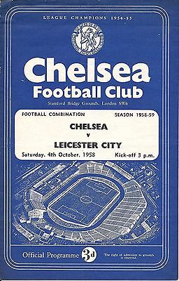 Chelsea Reserves v Leicester City Reserves 1958/59 - 4 Page