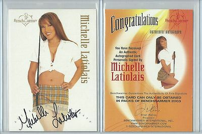 Orig. Michelle Latiolais Autogramm - sexy Benchwarmer Card - Gold Edition 2003