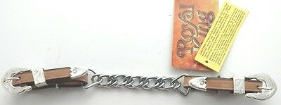 Western Show Curb Chain - Silver Buckles - Keeps - Tips - Light Oil Leather
