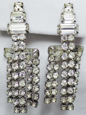 Vintage Art Deco Sparkling Baguette Chaton Layered Dangle Rhinestone Earrings