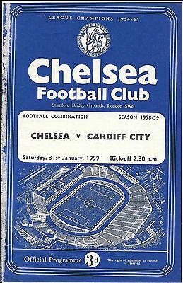 Chelsea Reserves v Cardiff City Reserves 1958/59 - 4 Page