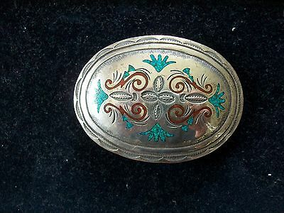 Vintage Native Chip Turqoiuse & Coral Inlay Belt Buckle/Signed CJ/Native/Silver