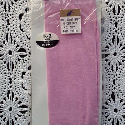 NEW 40 Denier Soft Plain Knit Tights - BABY PINK 1.5 - 2 years