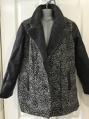 YD Girls Leopard And Leather Sleeve Padded Coat 11-12
