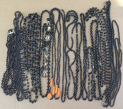 1950's Black Beaded Necklace lot beads mourning goth jewelry vintage victorian