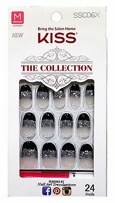 KISS 24 Glue/Press-On Nails GLACIAL Collection HOLIDAY Black Tips+Glitter OVAL