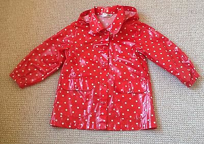 Girls Aged 4 Years Waterproof Coat Bought From H&m.hoded Red With White Spots