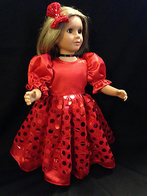 """BEAUTIFUL CHRISTMAS  RED GOWN, NECKLACE  & HAIR BOW fits the 23"""" MY Twinn DOLLS"""