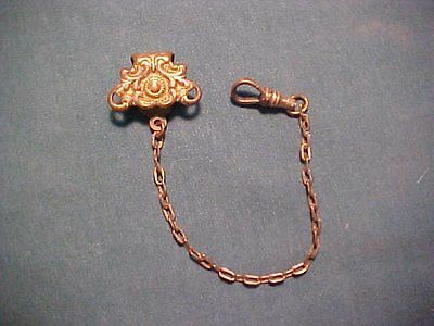 Antique Gold Plated Watch Fob Chain Vest Clip