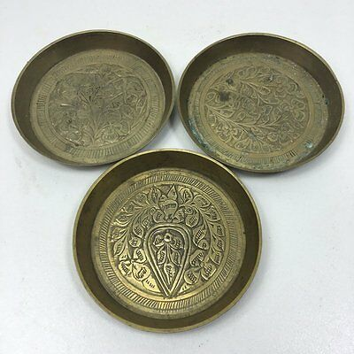 "3 Vintage Engraved Indian Brass Pin Trays - 3"" Wide"