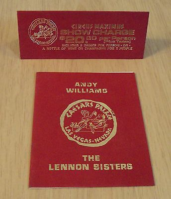 """1970's TABLE Tent Card/Program~""""CAESARS PALACE"""" Andy Williams/Lennon Sisters~"""