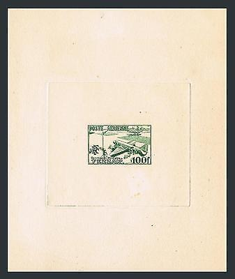 Fezzan 2NC1 proof in green,MNH.Michel 31 deluxe. Air Post 1948.Airport in Fezzan