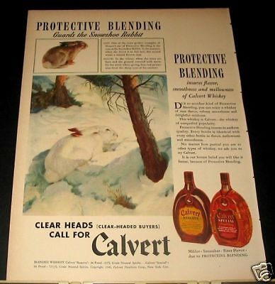 1940 Calvert Whiskey SNOWSHOE RABBIT Ad