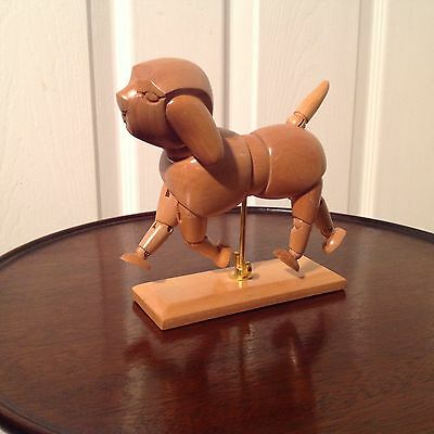 Artist Articulated Wooden Dog Model  On Stand