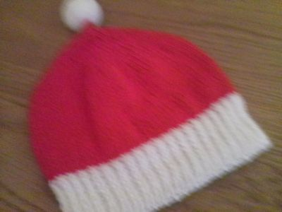 Child's Santa bobble hat, new hand-knit, up to 17 inch cicumference