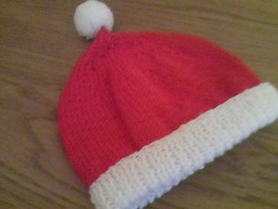 Child's Santa bobble hat, new hand-knit, up to 20 inch cicumference