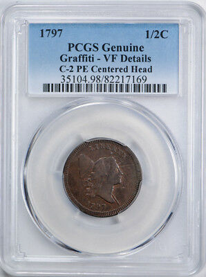 1797 Flowing Hair Half Cent C-2 PE Edge Centered Head PCGS VF Very Fine Details