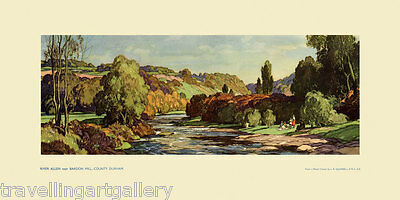 Allendale Tyne Valley Original 1950 Rail Carriage Print Squirrell National Trust