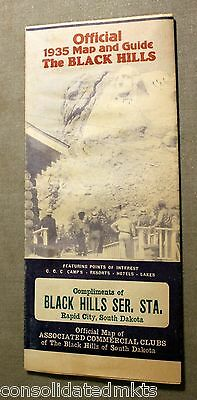 1935 Official Map & Guide THE BLACK HILLS OF SOUTH DAKOTA, ~Wonderful!