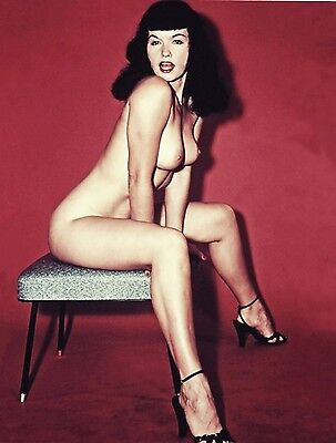 1950s Nude Pinup Bettie Page Perfect C cups sitting studio 8 x 10 Photograph