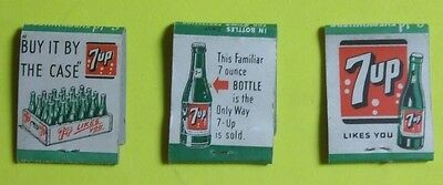 3 different 7UP match book covers
