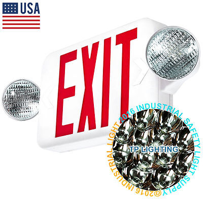 LED Exit Sign & Emergency Light – High Output - RED Compact Combo UL COMBO US