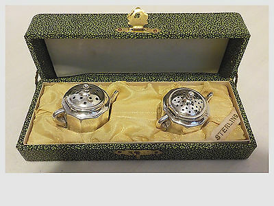 Vintage Sterling Silver Teapot Salt & Pepper Shakers With Original Box/case