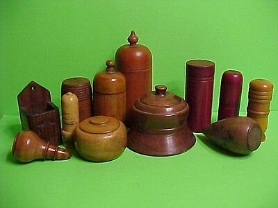 Vintage Treenware Woodenware Collection of 12 PCS Containers & More