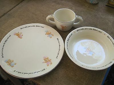 Hallmark 3 pc. Porcelain Child's Dish Set..Pat-a-Cake..2 Handled Cup..Gd.Cond.