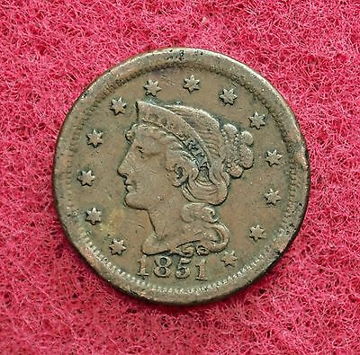 Very Nice 1851-P United States Braided Hair Large Cent.......#12293