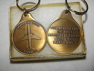 Northwest Orient Airlines Boeing 757 Commerative Key Chain Nwa Delta Pilot F/a