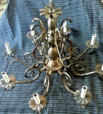 "Antique French Bronze Double Pineapple Chandelier w/Crystal Prisms 20""L x 25""W"