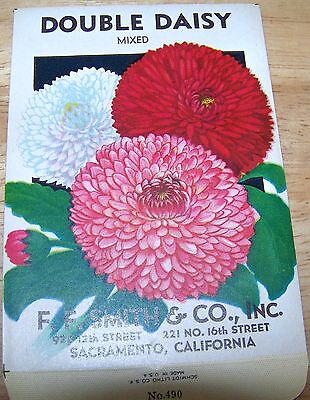 Vintage 1920s Seed packet 4 framing Double Daisy mix FF Smith co Sacramento CA