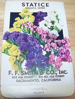Vintage 1920s Seed packet 4 framing Statice mixed F F Smith co Sacramento CA