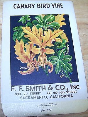Vintage 1920s Seed packet 4 framing Canary Bird vine FF Smith co Sacramento CA