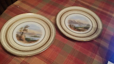 2 Antique Aynsley Hand Painted Landscape Plates 1856 1St Production Back Stamp