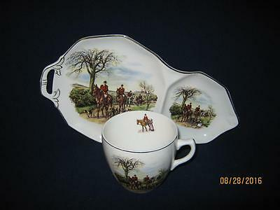 "4-Royal Tudor Ware Barker Bros England ""the Huntsman"" Snack Plate And Cup Sets"
