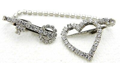 VTG Silver Tone Clear Rhinestone Key and Heart Sweater Clips