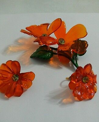 Vtg Flowers Cellulose Acetate Brooch and Earrings ~ Large  translucent Orange