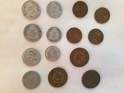 lot of 14 TUNISIA COINS 2--5--100 MILLIM, 1960  issue