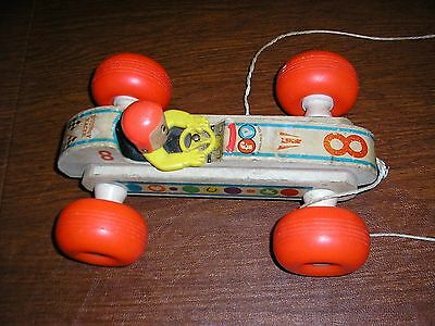 Vintage Fisher Price Bouncy Racer #8 Pull Toy