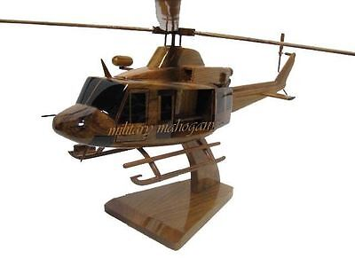 Bell 412 USMC Marine Police EMS DEA Mahogany Wood Wooden Helicopter Model New