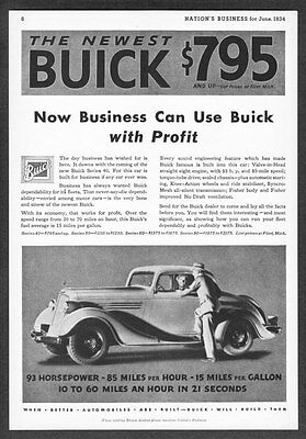 """1934 Buick Series 40 Coupe photo """"Built for Business"""" vintage promo print ad"""