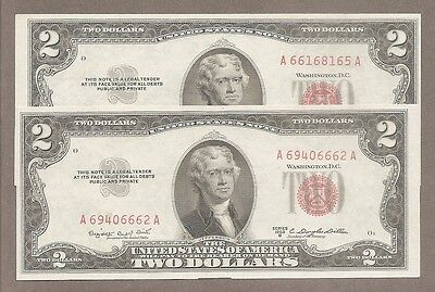 1953 B - ( 2 ) $2 CU Red Seal *Opposite Miscut + Fancy 4 of A Kind # 6666* Notes